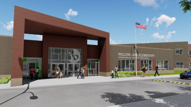 Architectural rendering of new Willow Lake exterior front entrance